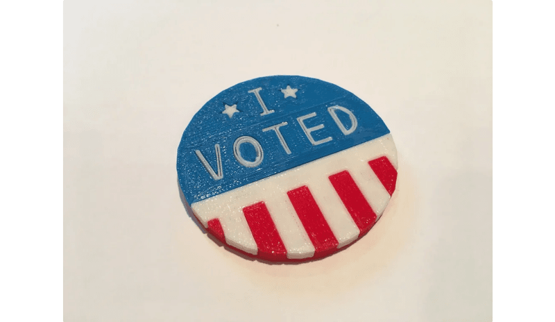 I Voted Button (red, white, and blue)